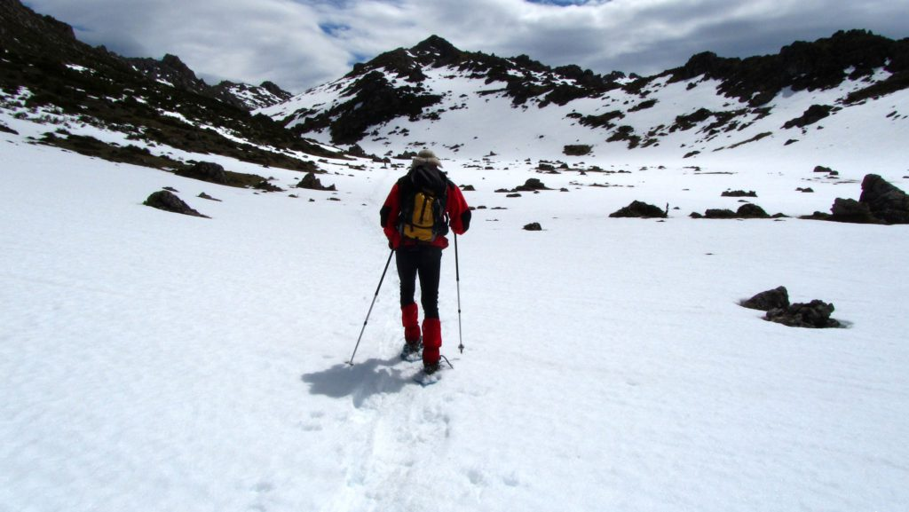 Esquiador practicando esquí de fondo sobre la nieve. Practicando deportes de invierno en Asturias.